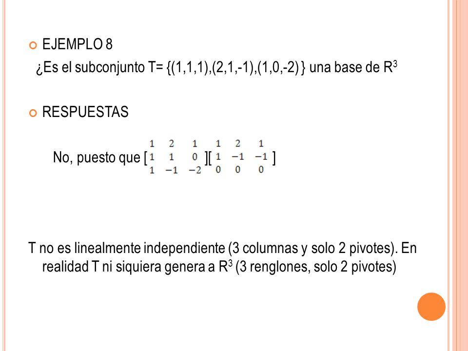 EJEMPLO 8 ¿Es el subconjunto T= {(1,1,1),(2,1,-1),(1,0,-2) } una base de R3. RESPUESTAS. No, puesto que [ ][ ]